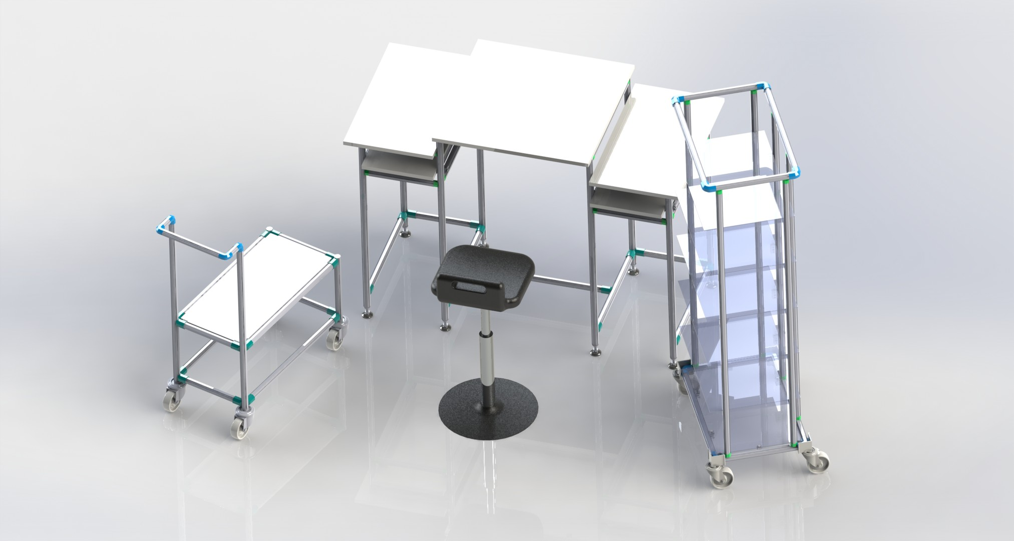 postazione lavoro modulare alluminio